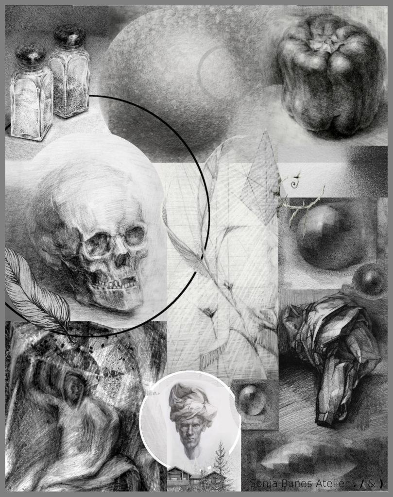 Digital collage av blyanttegninger, Sonja Bunes
