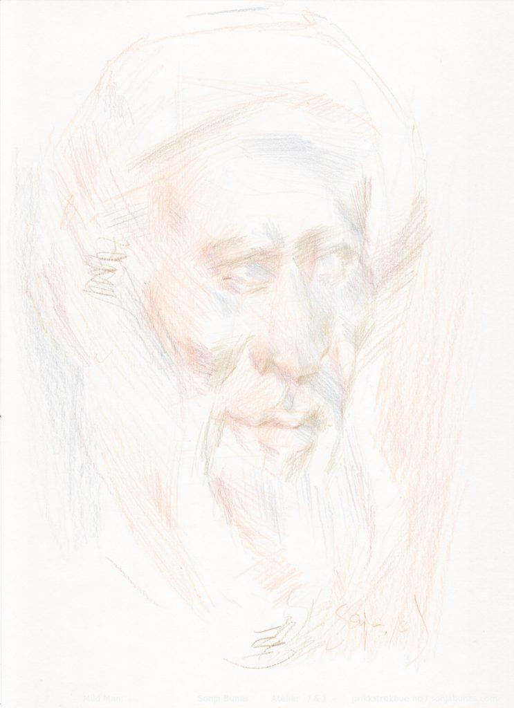 Mild mann. Tegning med Caran d'Ache Luminance 6901 fargeblyanter på Hahnemühle Nostalgie papir. 21x29cm. April 2020. Sonja Bunes.