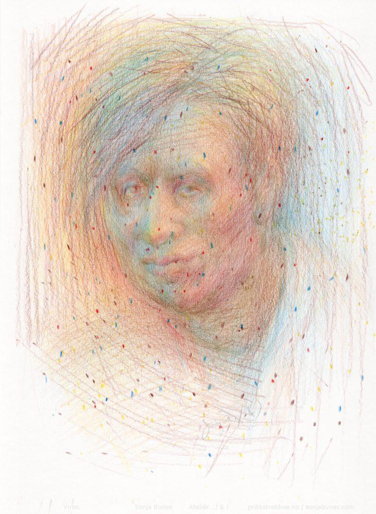 Virus. Covid-19 inspirert tegning med Caran d'Ache Luminance 6901 fargeblyanter på Hahnemühle Nostalgie papir. 21x29cm. April 2020. Sonja Bunes.