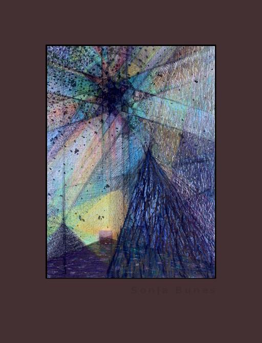 Håp i de overhengende truslers tid. Håndkolorert litografi 7/30 i serien Lys, liv og geometri av Sonja Bunes 2017