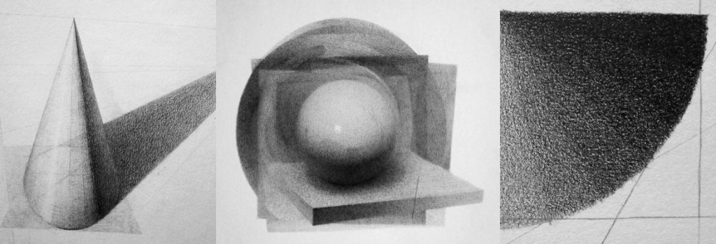 Form, lys og skygge, valører. Blyanttegning av Sonja Bunes 2010
